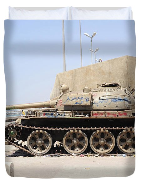 A T-55 Tank On The Seafront Duvet Cover by Andrew Chittock