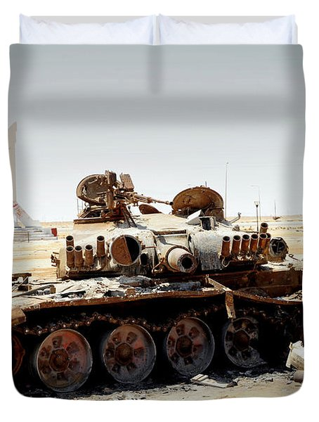 A T-80 Tank Destroyed By Nato Forces Duvet Cover by Andrew Chittock