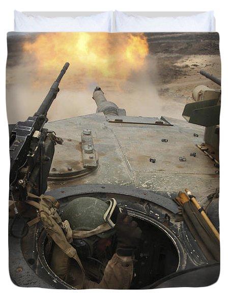 A Tank Crewman Braces Himself Duvet Cover by Stocktrek Images