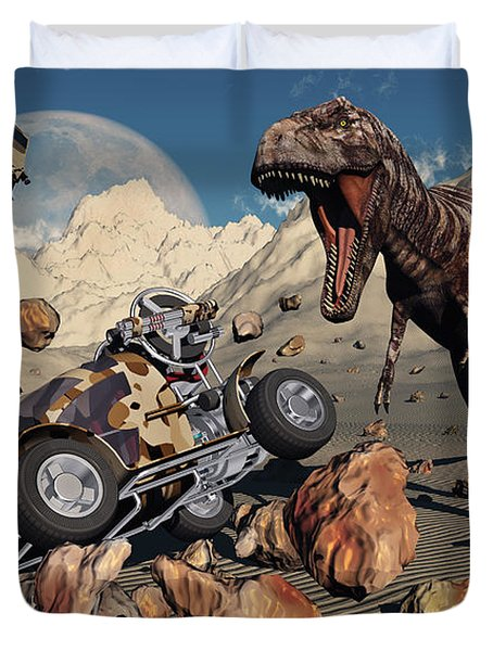 A Team Of Time Travelling Explorers Try Duvet Cover by Mark Stevenson