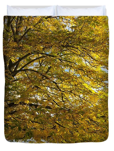 A Tree With Golden Leaves And A Park Duvet Cover by John Short