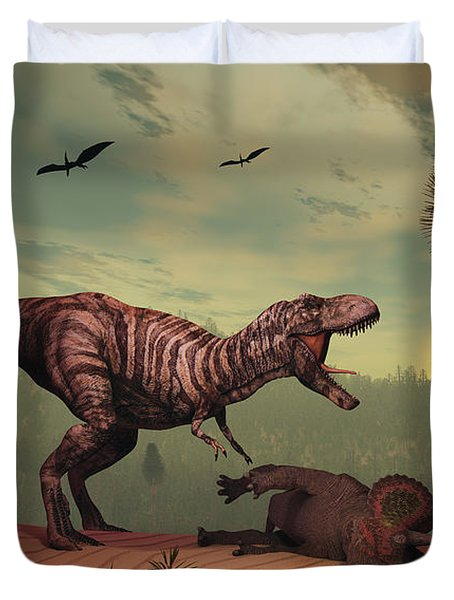 A Triceratops Falls Victim Duvet Cover by Mark Stevenson
