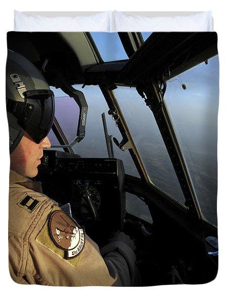 A U.s. Air Force C-130j Hercules Pilot Duvet Cover by Stocktrek Images