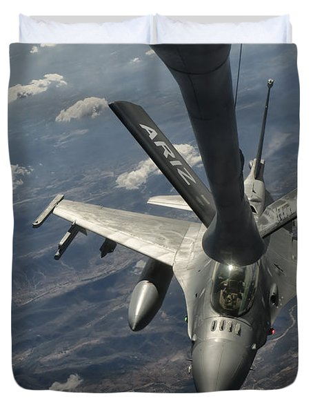 A U.s. Air Force F-16c Block 50 Duvet Cover by Giovanni Colla