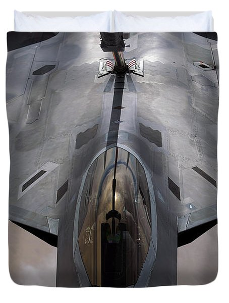 A U.s. Air Force F-22 Raptor Duvet Cover by Stocktrek Images