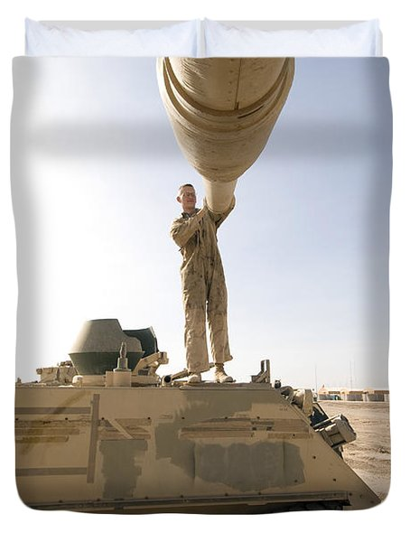 A Us Army Mechanic Uses A M113 Duvet Cover by Terry Moore