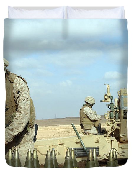 A U.s. Marine Prepares Howitzer Rounds Duvet Cover by Stocktrek Images