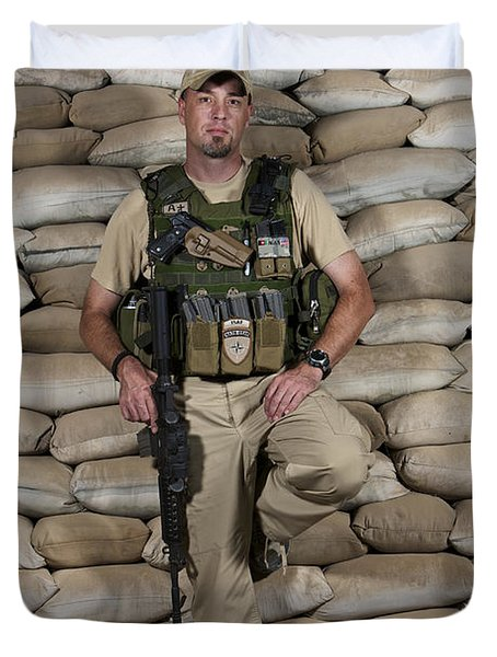 A U.s. Police Officer Contractor Leans Duvet Cover by Terry Moore
