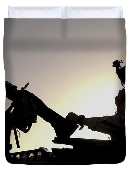 A U.s. Soldier Talks On A Hand Mike Duvet Cover by Stocktrek Images