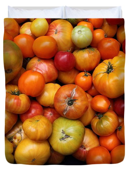 A Variety of Fresh Tomatoes - 5D17812 Duvet Cover by Wingsdomain Art and Photography