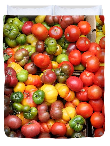 A Variety of Fresh Tomatoes and Celeries - 5D17901 Duvet Cover by Wingsdomain Art and Photography