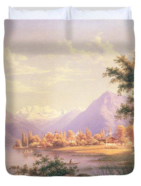 A View Of Scherzingen On The Lake Of Thun Duvet Cover by Jakob Suter