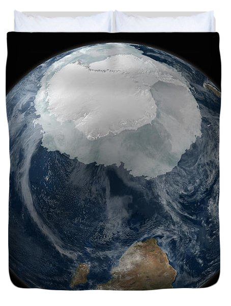 A View Of The Earth With The Full Duvet Cover by Stocktrek Images