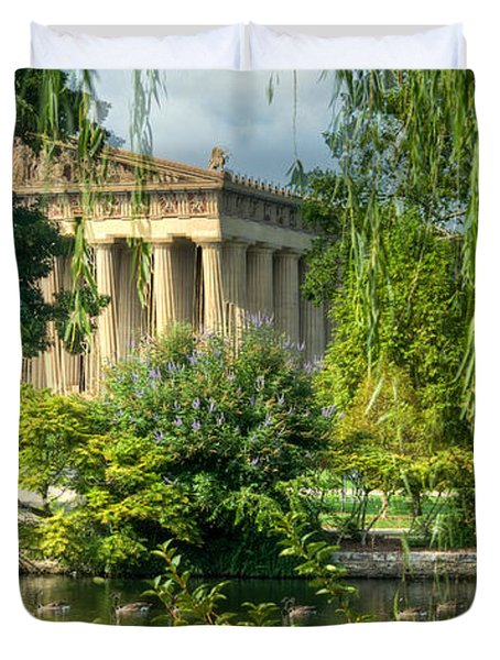 A View of the Parthenon 13 Duvet Cover by Douglas Barnett