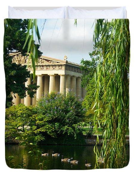 A View Of The Parthenon 15 Duvet Cover by Douglas Barnett