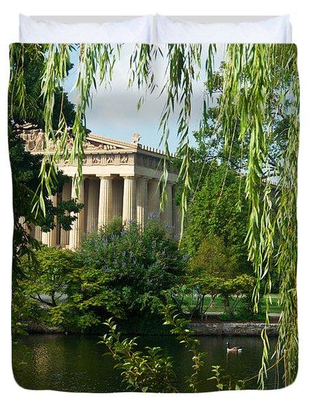 A View Of The Parthenon 7 Duvet Cover by Douglas Barnett