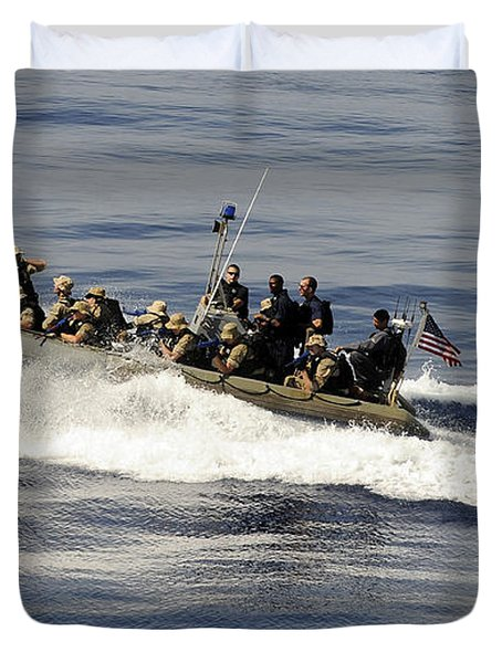 A Visit, Board, Search And Seizure Team Duvet Cover by Stocktrek Images