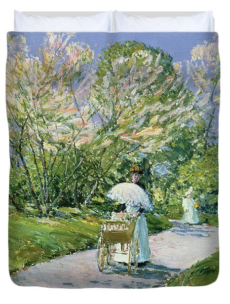 A Walk In The Park Duvet Cover by Childe Hassam