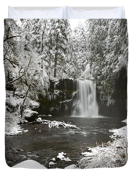 A Waterfall In To A River In Winter Duvet Cover by Craig Tuttle