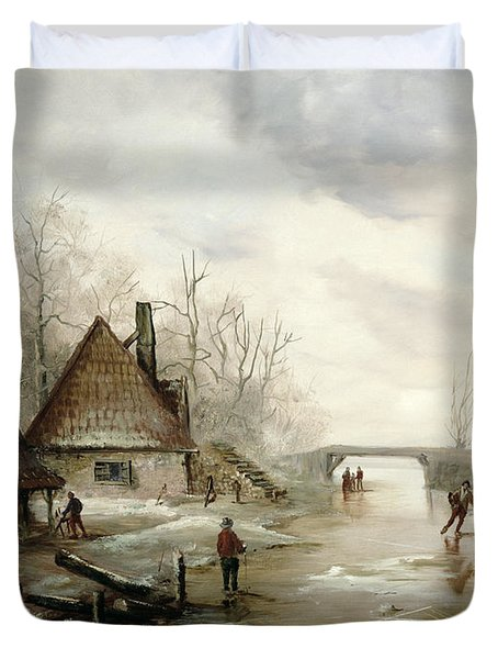 A Winter Landscape With Figures Skating Duvet Cover by Dutch School