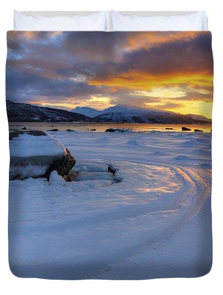 A Winter Sunset Over Tjeldsundet Duvet Cover by Arild Heitmann