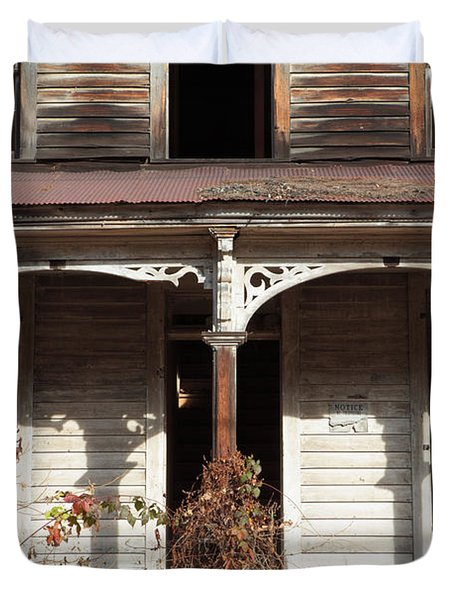Abandoned House Facade Rusty Porch Roof Duvet Cover by John Stephens