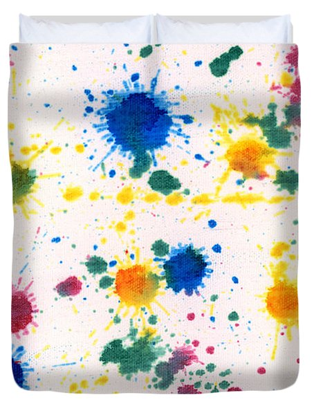 Abstract - Gesso And Food Color - My New Carpet Duvet Cover by Mike Savad