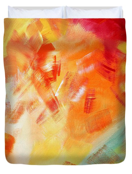 Abstract Art Colorful Bright Pastels Original Painting Spring Is Here I By Madart Duvet Cover by Megan Duncanson