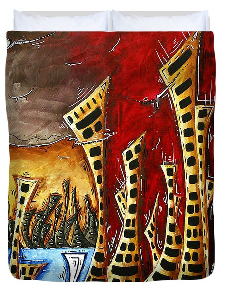 Abstract Art Contemporary Coastal Cityscape 3 Of 3 Capturing The Heart Of The City II By Madart Duvet Cover by Megan Duncanson