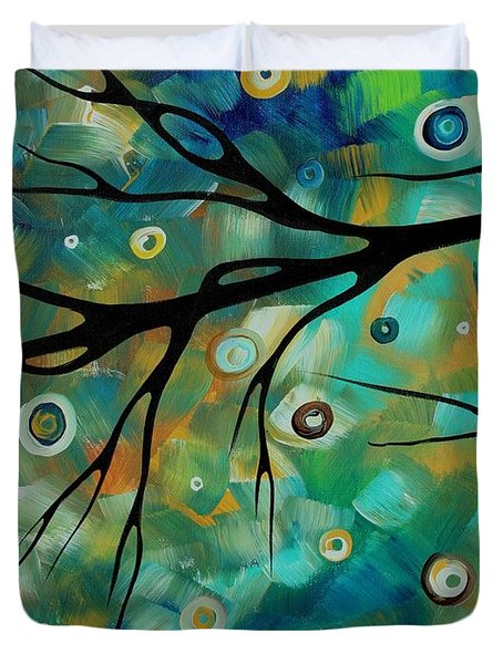 Abstract Art Original Landscape Painting Colorful Circles Morning Blues II By Madart Duvet Cover by Megan Duncanson