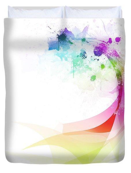 Abstract colorful curved Duvet Cover by Setsiri Silapasuwanchai