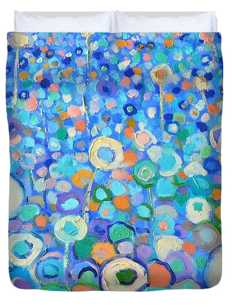 Abstract Flowers Field Duvet Cover by Ana Maria Edulescu