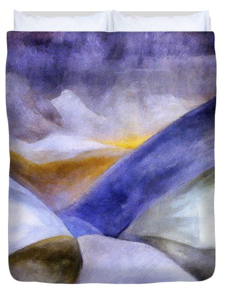 Abstract Mountain Landscape Duvet Cover by Michelle Calkins