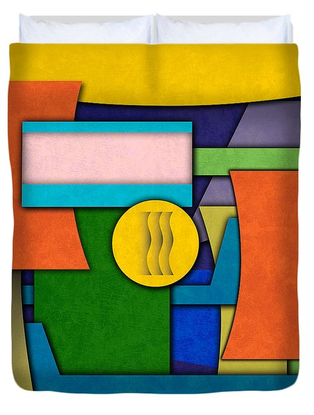 Abstract Shapes Color One Duvet Cover by Gary Grayson
