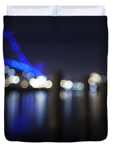 Abstract Vincent Thomas Bridge Duvet Cover by Mike Raabe