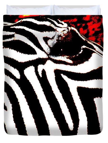 Abstract Zebra 001 Duvet Cover by Lon Casler Bixby