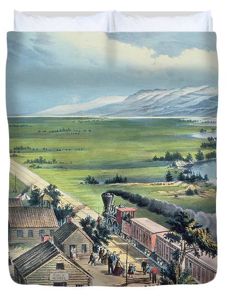 Across The Continent Duvet Cover by Currier and Ives