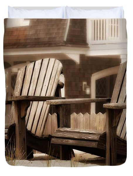 Adirondack Chairs On The Beach - Jersey Shore Duvet Cover by Angie Tirado