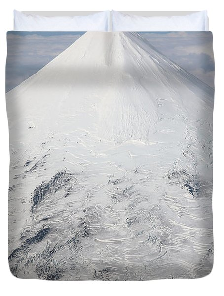 Aerial View Of Glaciated Shishaldin Duvet Cover by Richard Roscoe