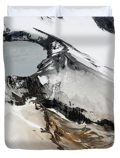 Aerial View Of Snow-covered Ruapehu Duvet Cover by Richard Roscoe