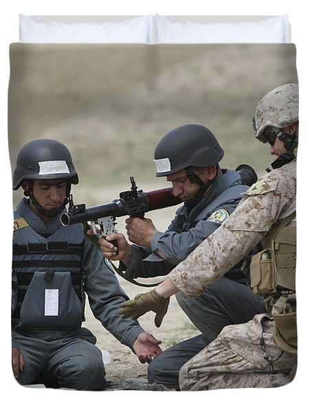 Afghan Police Students Assemble A Rpg-7 Duvet Cover by Terry Moore