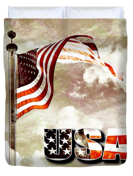 Aged Usa Flag On Pole Duvet Cover by Phill Petrovic