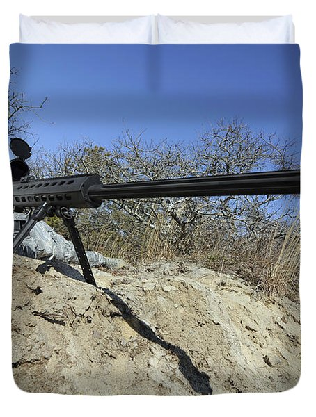 Airman Sights A .50 Caliber Sniper Duvet Cover by Stocktrek Images