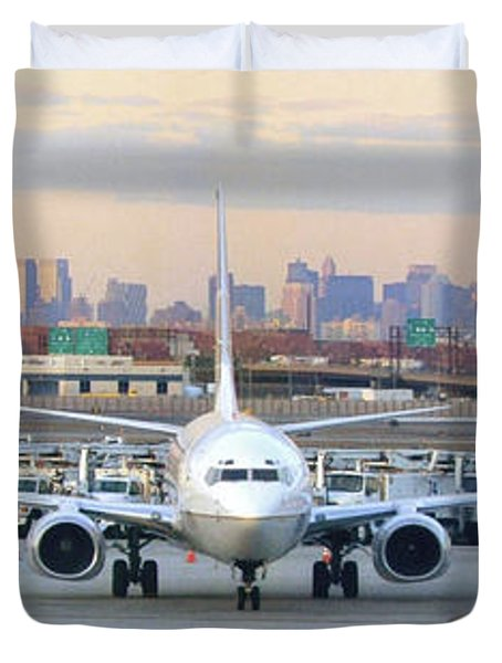 Airport Overlook the Big City Duvet Cover by Mike McGlothlen