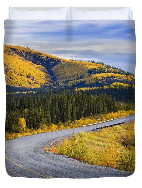 Alaska Highway Near Beaver Creek Duvet Cover by Yves Marcoux