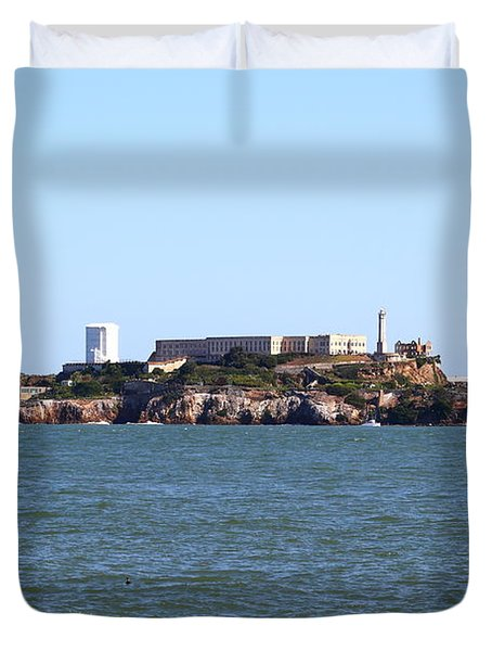 Alcatraz Island In San Francisco California . West Side . 7d14007 Duvet Cover by Wingsdomain Art and Photography