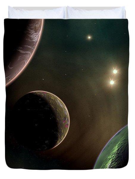 Alien Worlds That Orbit Different Types Duvet Cover by Mark Stevenson