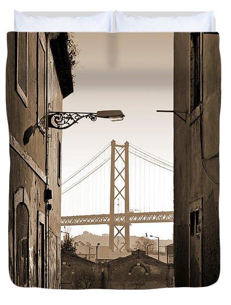 Alley And Bridge Duvet Cover by Carlos Caetano