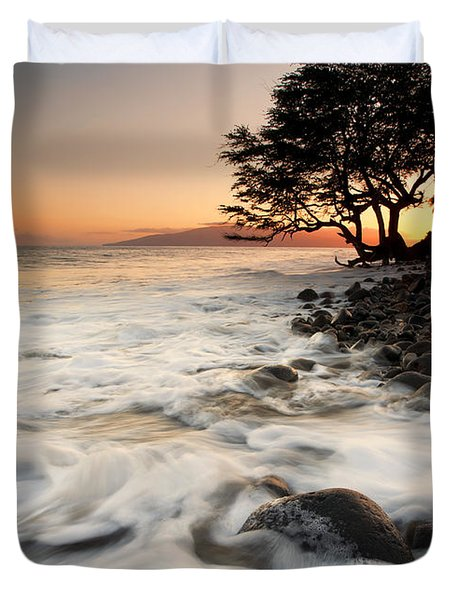 Alone With The Sea Duvet Cover by Mike  Dawson
