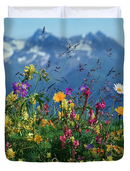 Alpine Wildflowers Duvet Cover by Hermann Eisenbeiss and Photo Researchers